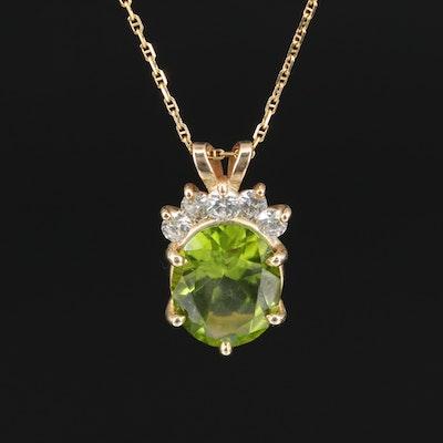 14K 5.29 CT Peridot and Diamond Pendant Necklace
