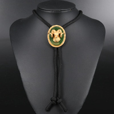 10K Nephrite and Diamond Ram's Head Bolo Tie on Cord