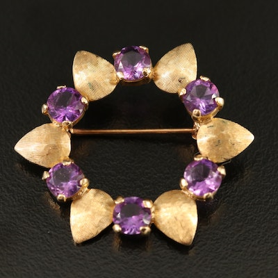 14K Amethyst Wreath Brooch