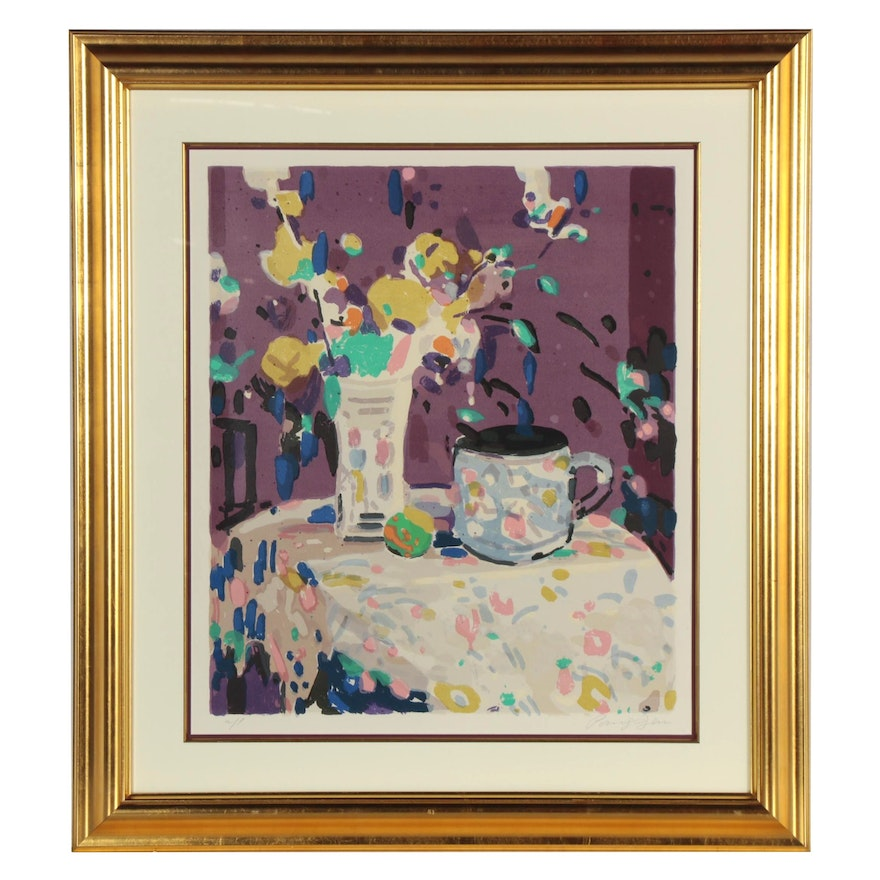 Jen Pang Serigraph of Floral Still Life, Late 20th Century
