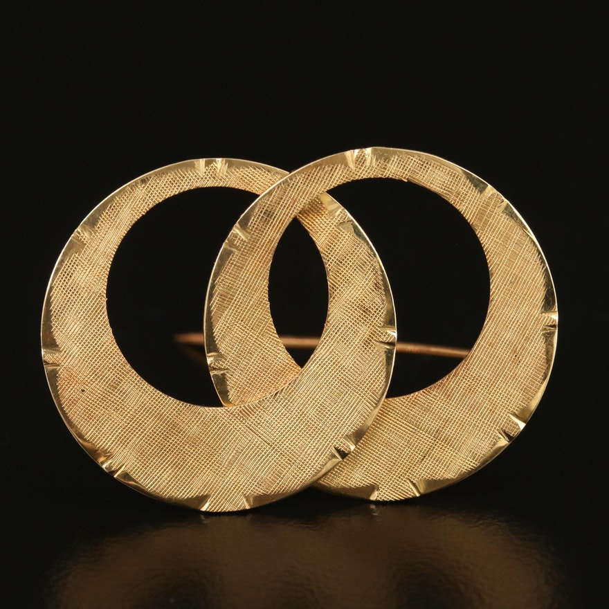14K Double Circle Textured Brooch