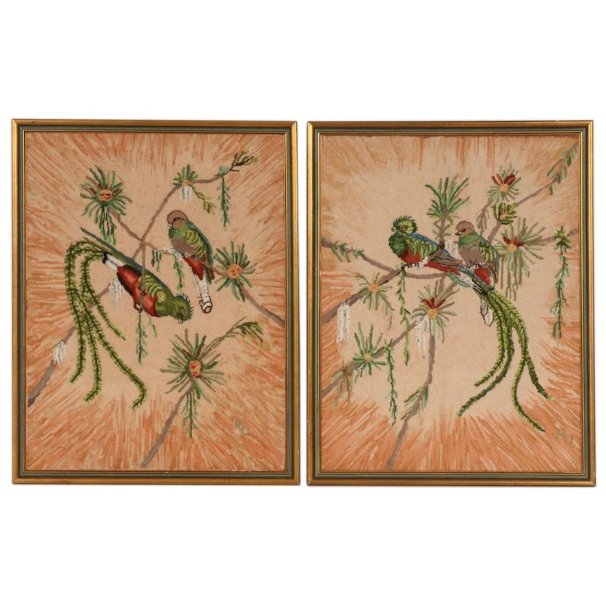Pair of Hand-Hooked Quetzal Bird Motif Wall Hangings, Mid to Late 20th C.