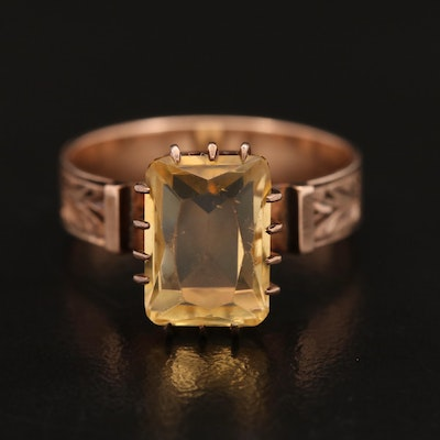 Victorian 10K Citrine Solitaire Ring