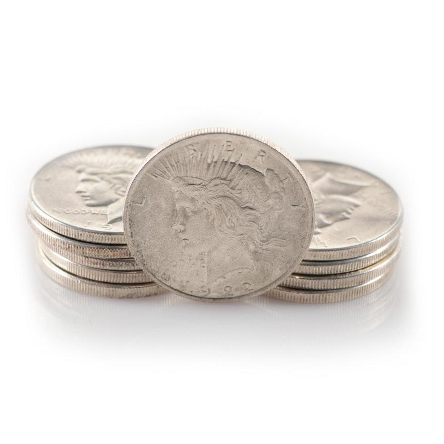 Ten 1922 Peace Silver Dollars