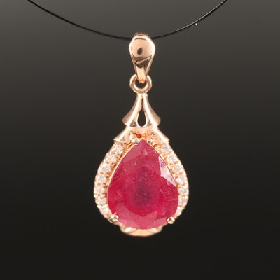14K Corundum and Diamond Teardrop Pendant