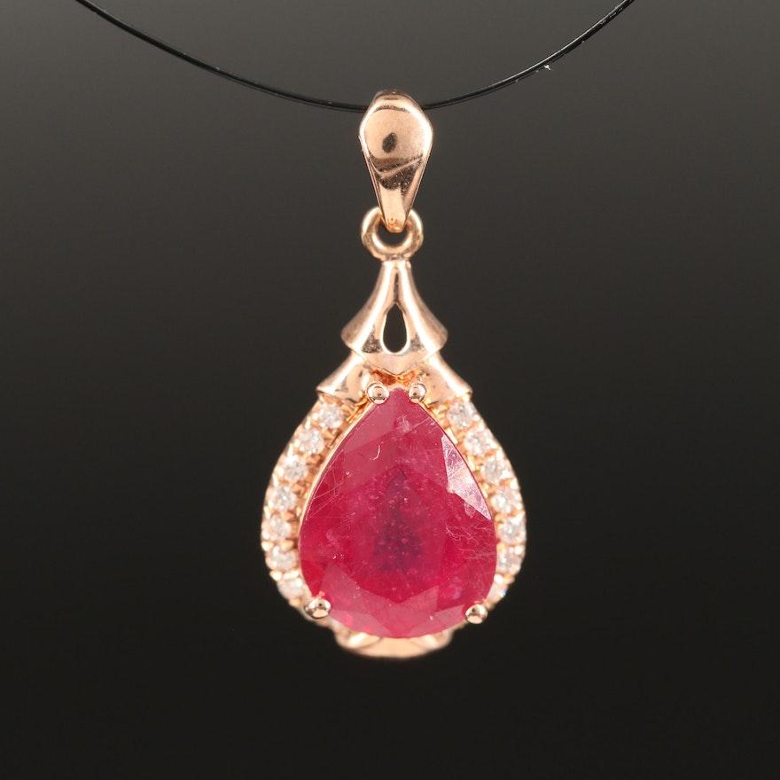 14K Corundum and Diamond Teardrop Pendant