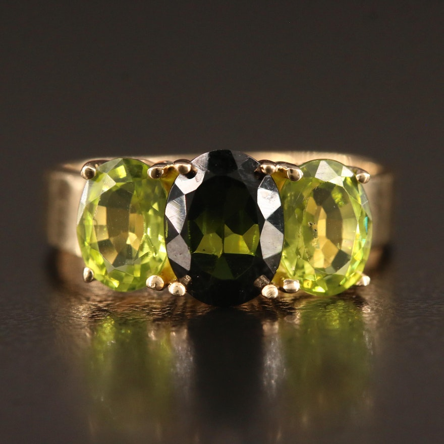 14K Tourmaline and Peridot Ring