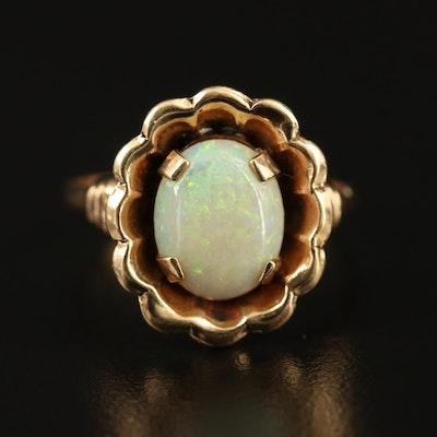 10K Opal Flower Ring