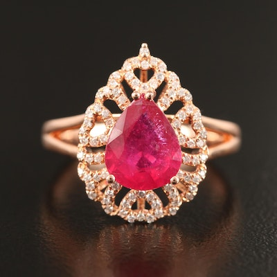 14K Corundum and Diamond Ring with Heart Motif