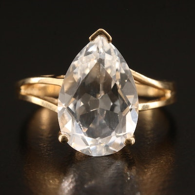 14K Pearl Faceted White Sapphire Ring