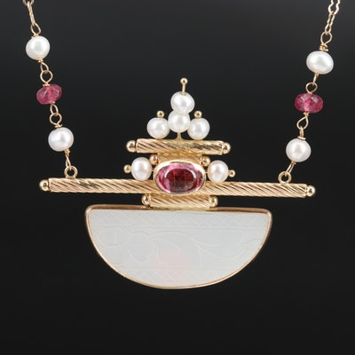 14K Tourmaline, Pearl and Mother of Pearl Necklace with Sterling Clasp