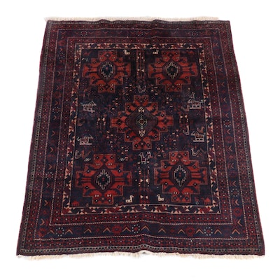 4'11 x 7'2 Hand-Knotted Persian Afshar Wool Rug