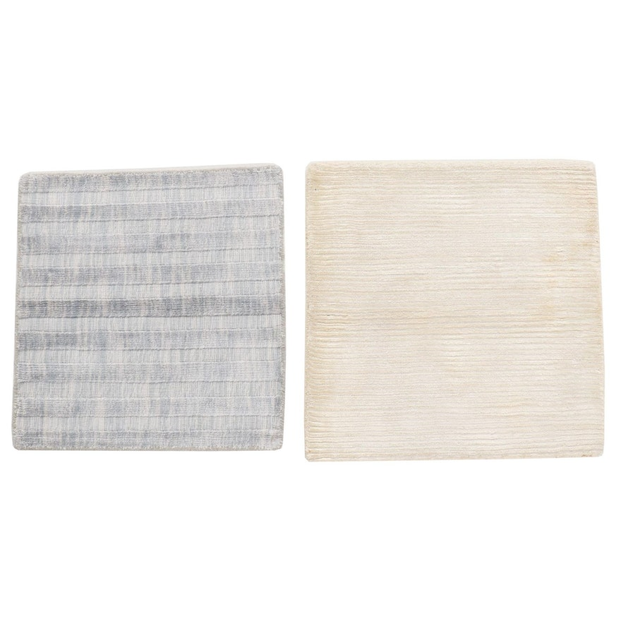 Hand-Knotted Indian Bamboo Silk Rugs, 2010s