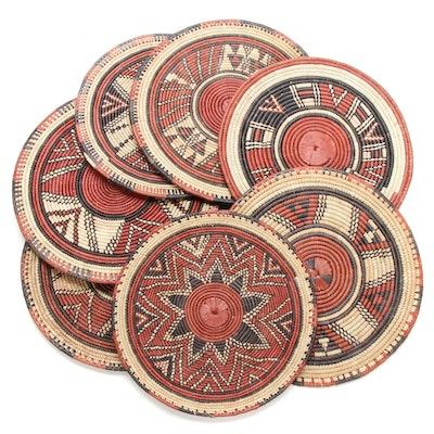 Nigerian Hausa Handwoven Grass Flat Baskets