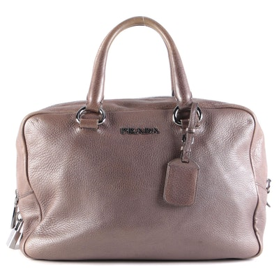 Prada Metallic Leather Top Handle Bag with Luggage Tag
