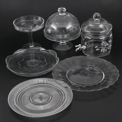 Glass Cake Plates and Other Serving Pieces, Mid to Late 20th Century