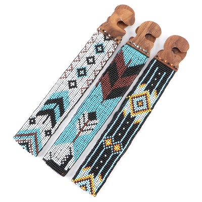 Southwestern Inspired Beaded Stretch Belts with Wood Hook Buckles