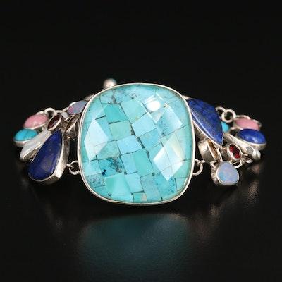Sterling Multi-Gemstone Bracelet with Chip Turquoise Quartz Doublet Center