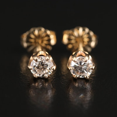 14K 0.50 CTW Diamond Solitaire Earrings