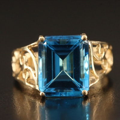 14K Topaz Ring with Openwork Details
