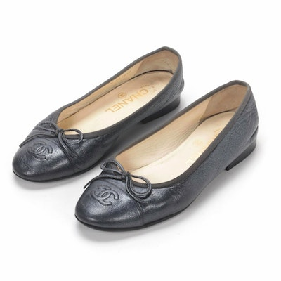 Chanel CC Graphite Gray Leather Cap Toe Bow Ballet Flats