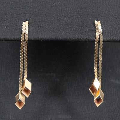 14K Diamond Shape Drop Earrings