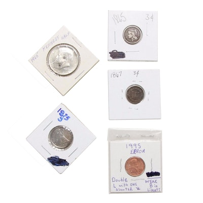 3-Cent Nickels, 20-Cent Coin, Lincoln Memorial Penny with Errors, and More