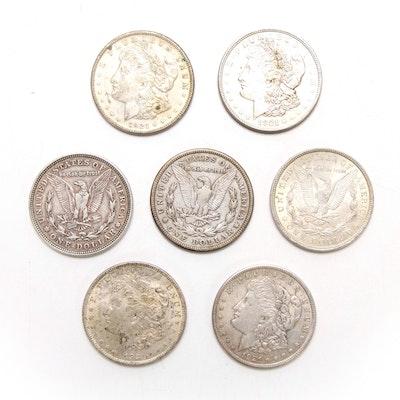 Seven 1921 Morgan Silver Dollars