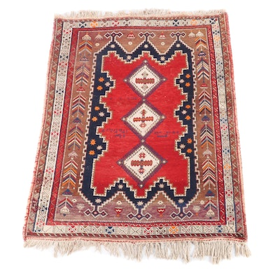 5'0 x 7'7 Hand-Knotted Persian Afshar Inscribed Wool Rug