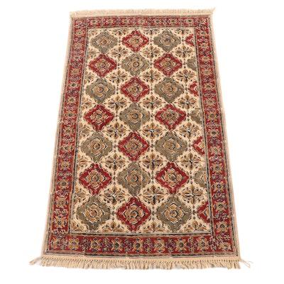 2'11 x 5'2 Handwoven Indian Dhurrie Kalamakari Floral Rug