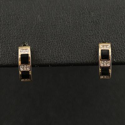 14K Cubic Zirconia and Enamel Huggie Earrings