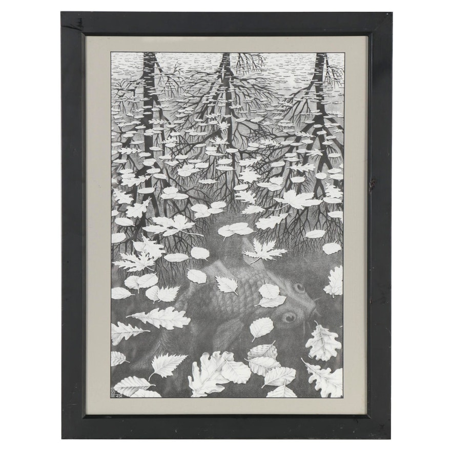 """Offset Lithograph after Maurits Cornelis Escher """"Three Worlds"""""""