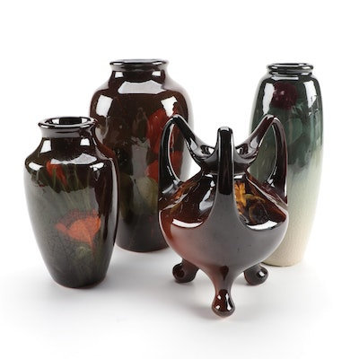 Weller Pottery Louwelsa and Eocean Vases, Early 20th Century