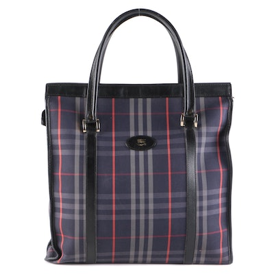 Burberry Navy Check Tote Bag with Black Leather Trim