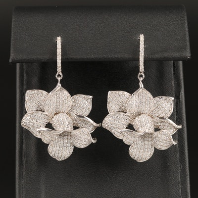 Sterling Cubic Zirconia Flower Dangle Earrings