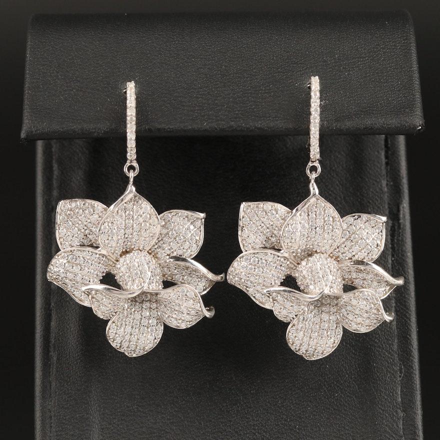 Sterling Cubic Zirconia Flower Dangle Earrings