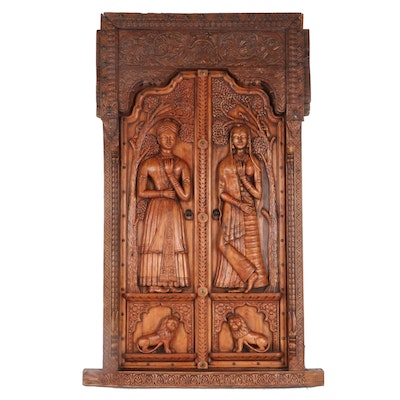 Salvaged Indian Hand-Carved Teak Wood Door with Frame, 20th Century