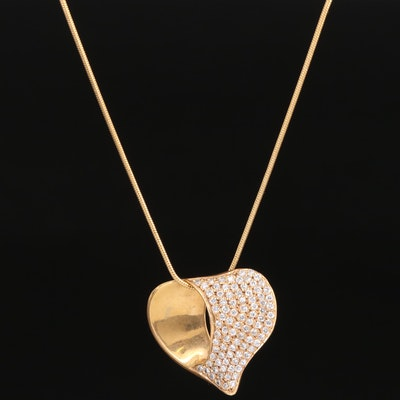 14K Pavé Diamond Pendant Necklace