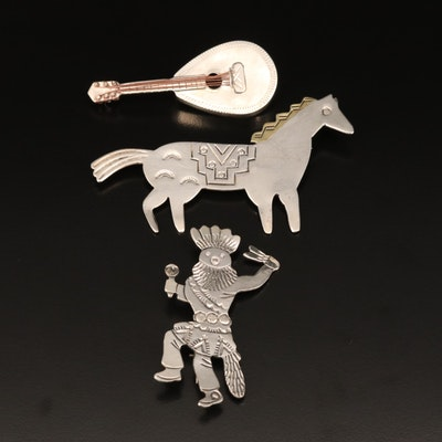 Vintage Floyd and Lloyd Becenti Navajo Diné Kachina Brooch with Mexican Brooches