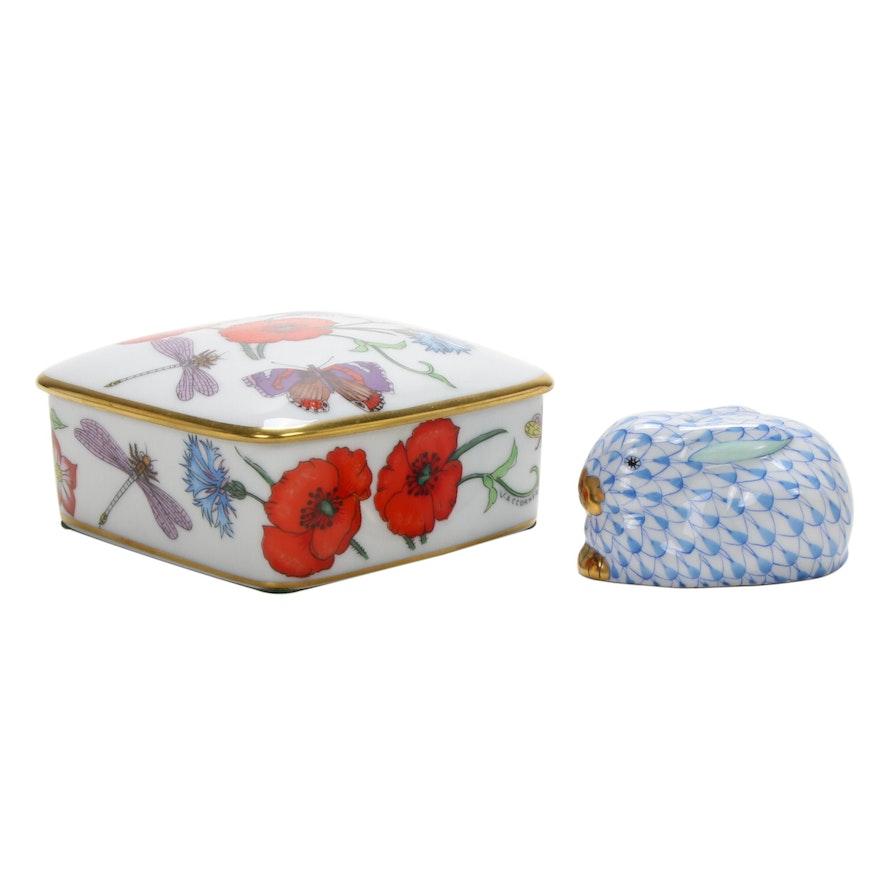 Herend Blue Fishnet Bunny and Bernardaud Limoges Porcelain Box