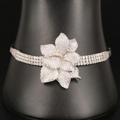 Sterling Cubic Zirconia Flower Bracelet