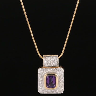 Bellari 14K Amethyst and Diamond Converter Pendant Necklace