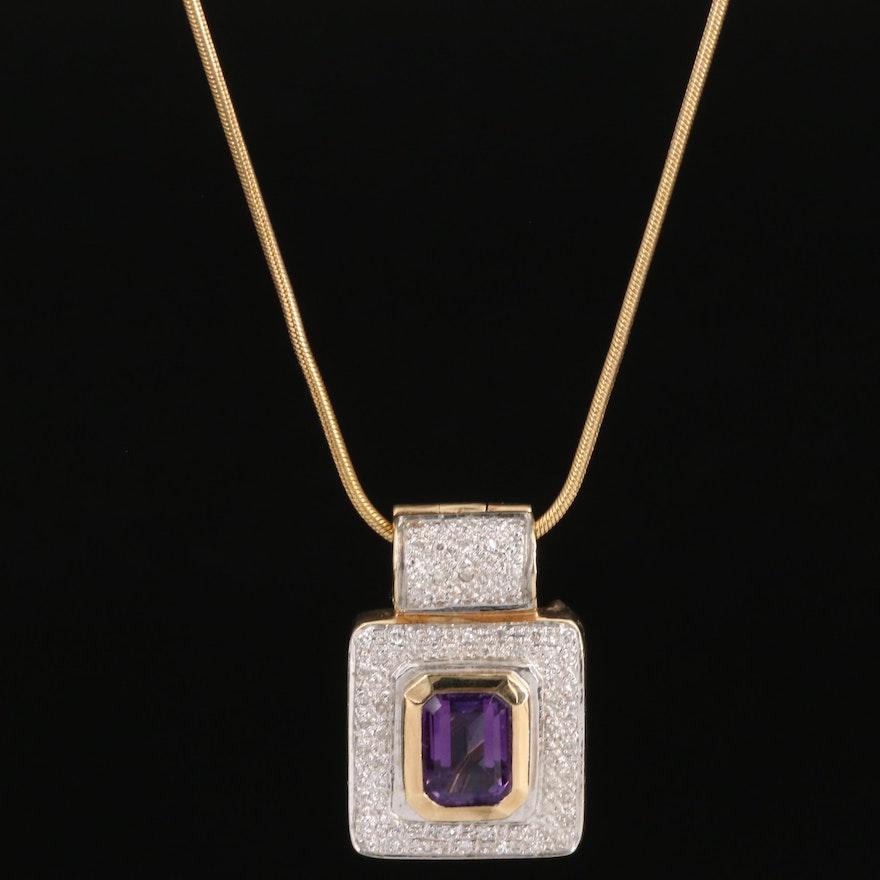 Bellari 14K Amethyst and Diamond Converter Pendant Necklace