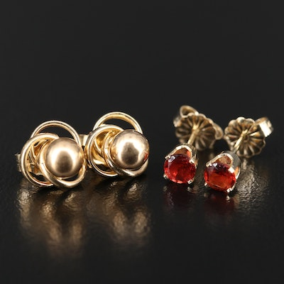 14K Garnet and Ball Stud Earrings with Knot Enhancers