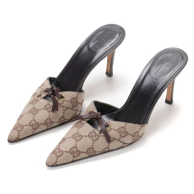 Gucci Signature Canvas Pointed Toe Mules with Leather Bows