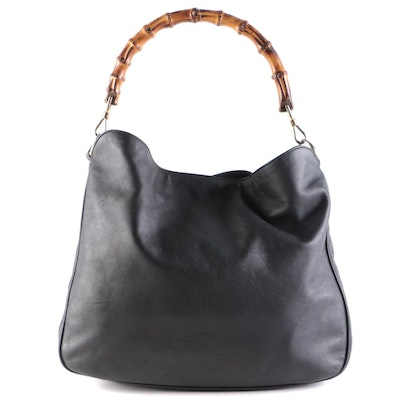 Gucci Bamboo Black Leather Two-Way Shoulder Tote