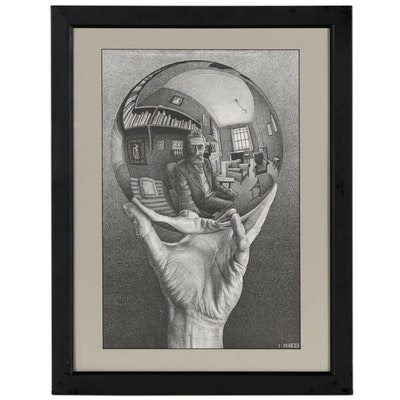 "Offset Lithograph after Maurits Cornelis Escher ""Hand With Reflecting Sphere"""