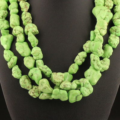 Magnesite Multi-Strand Necklace with Sterling Silver Clasp