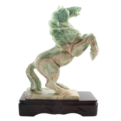Chinese Green Calcite Rearing Horse Carving
