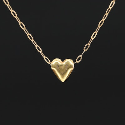 14 Puff Heart Oval Link Necklace